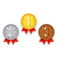 gold silver bronze award sport 1st 2nd 3rd place vector image vector image