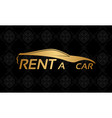 Golden car logo on floral texture vector image vector image