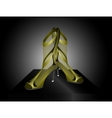 Golden Sandals with High Heels vector image vector image