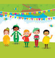 group of children having fun at a fruit party vector image