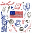 Happy Memorial Day American themed doodle set vector image
