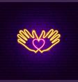 heart hands donation neon sign vector image
