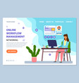 landing page online workflow management woman vector image