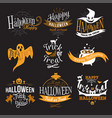 large logo set of happy halloween eerie designs vector image