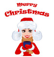 merry christmas greeting card with beautiful vector image