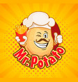 mr potato chef with french fries vector image vector image