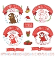 New Year Monkey labelsdecoration vector image
