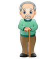 old man with walking stick vector image vector image