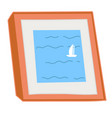 painting with sailing boat seascape picture art vector image vector image