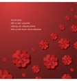 Red background with flowers vector image