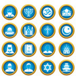 religious symbol icons blue circle set vector image vector image