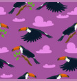 seamless pattern with toucans and clouds vector image vector image