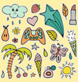 set of lovely hand-drawn stickers isolated vector image vector image