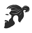 Silhouette of a bearded man hipster style barber