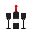 silhouette of wine bottle with label and two vector image vector image