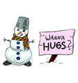 snowman and a sign with inscription wanna hugs vector image
