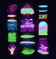 summer surf signs fashion neon surfer banner vector image vector image