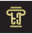 tc logo monogram with pillar style design vector image vector image