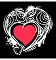 Template with Valentine hearts in line art style vector image vector image