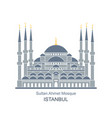 the blue mosque istanbul turkey flat icon vector image vector image