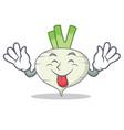 tongue out turnip mascot cartoon style vector image vector image