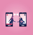two business people inside a smart phone meeting vector image vector image