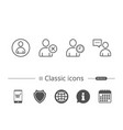 user remove profile and comments line icons vector image vector image