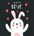 valentines card with cute rabbit and hearts vector image