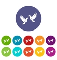 Wedding doves set icons vector image vector image