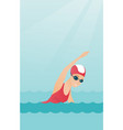 young caucasian sportswoman swimming vector image vector image