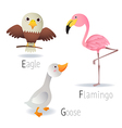 Alphabet with animals from E to G Set 2 vector image