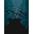 Silhouette of a ghost ship underwater vector image