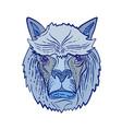 alpaca head etching color vector image vector image