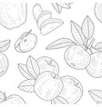 apple seamless pattern monochrome hand drawn vector image