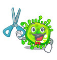 barber character microbe bacterium on the palm vector image vector image