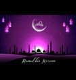 beautiful mosque with crescent on purple sky vector image vector image