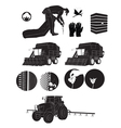 black silhouette icons cotton farmers and farm vector image vector image