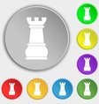 Chess Rook icon sign Symbol on eight flat buttons vector image vector image