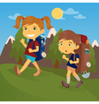 Children with Travel Backpacks Boy and Girl Scout vector image vector image