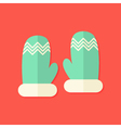 Christmas Winter Gloves Flat Icon vector image