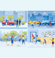 city people on town streets and workplace set vector image vector image