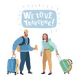 couple with travel bag ready to travel vector image vector image