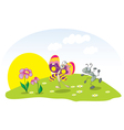 dancing ant and butterfly on the lawn vector image