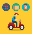 delivery service worker character with set icons vector image