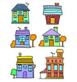 doodle of house set art vector image vector image