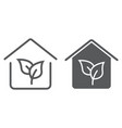 Eco house line and glyph icon real estate