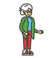 elderly woman grandmother concept line vector image