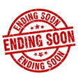 ending soon round red grunge stamp vector image vector image