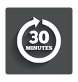 every 30 minutes sign icon full rotation arrow