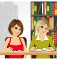 female students in the college library vector image vector image